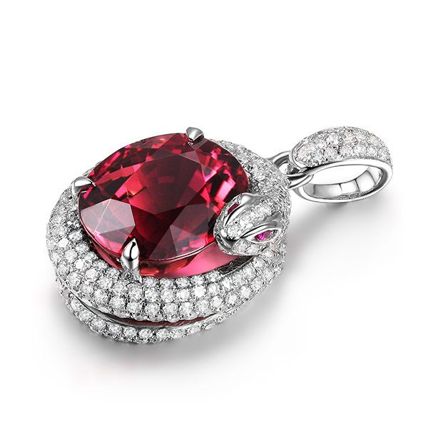 3.19ct Natural Red Tourmaline in 18K Gold Pendant