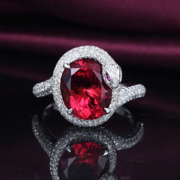 3.3ct Natural Red Tourmaline in 18K Gold Ring