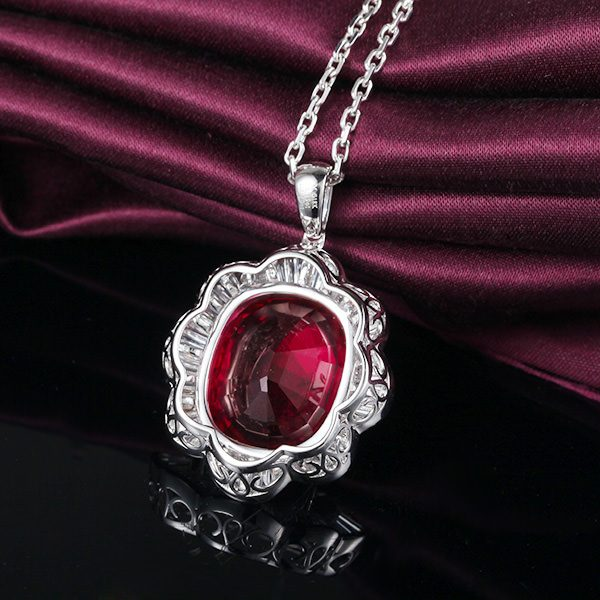 18.23ct Natural Red Tourmaline in 18K Gold Pendant