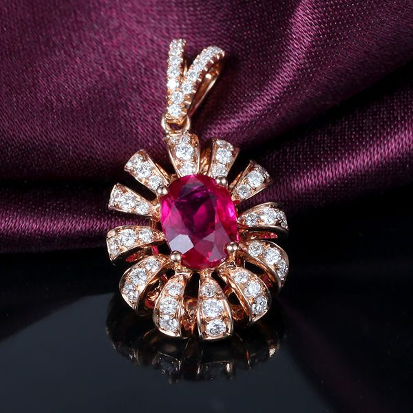1.06ct Natural Red Ruby in 18K Gold Pendant