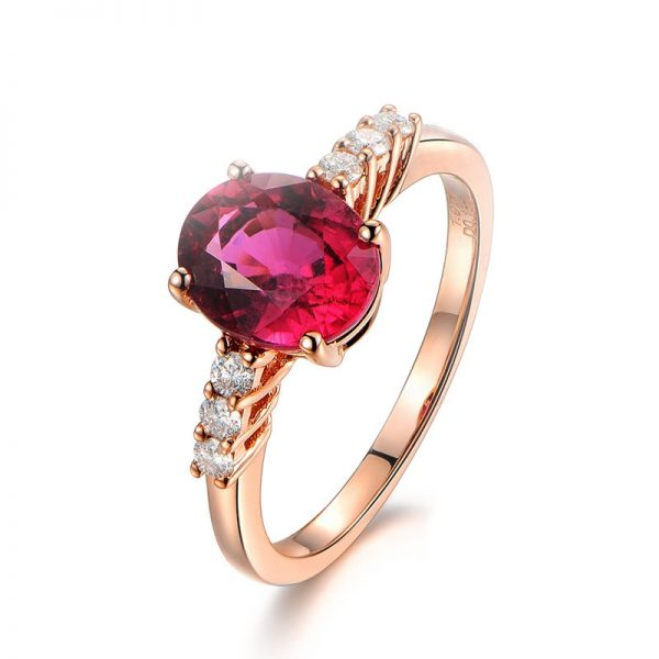 2.15ct Natural Red Tourmaline in 18K Gold Ring