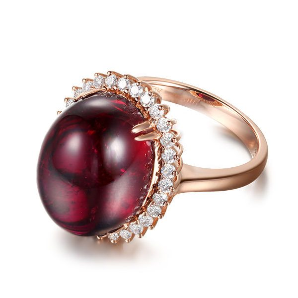 13.65ct Natural Red Tourmaline in 18K Gold Ring