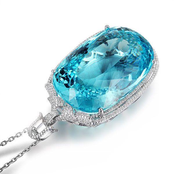 115ct Natural Blue Aquamarine in 18K Gold Pendant