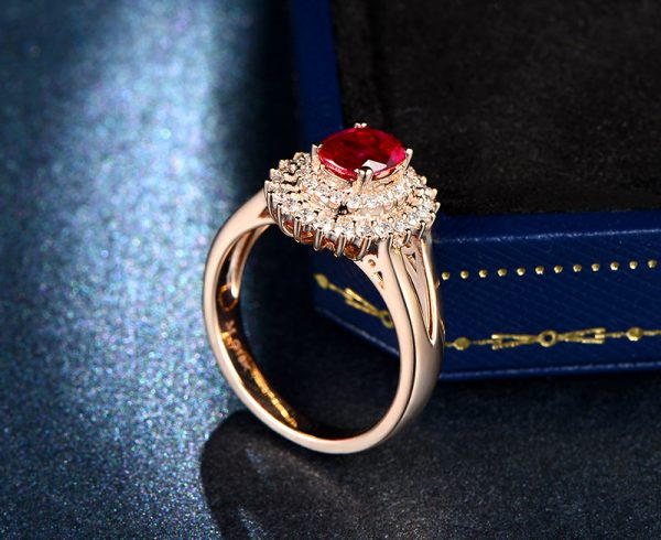 1.23ct Natural Red Ruby in 18K Gold Ring