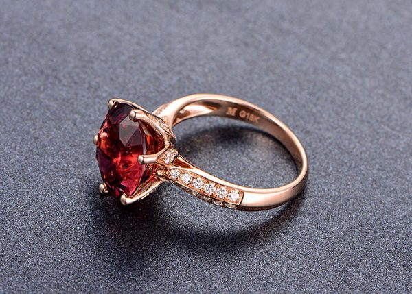 6.1ct Natural Red Tourmaline in 18K Gold Ring
