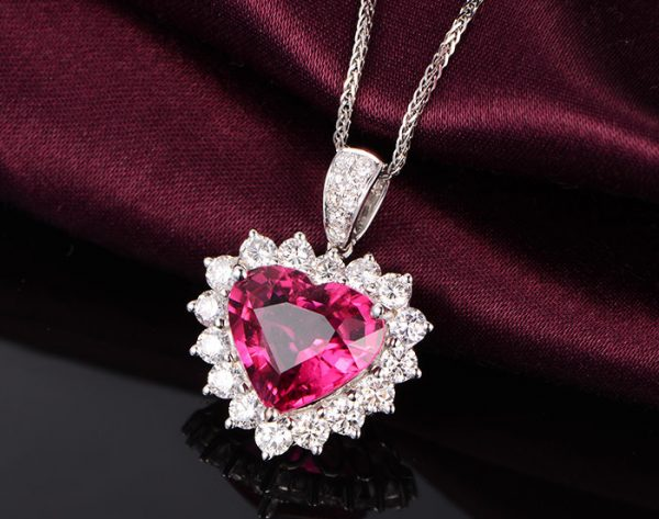 4.45ct Natural Red Tourmaline in 18K Gold Pendant
