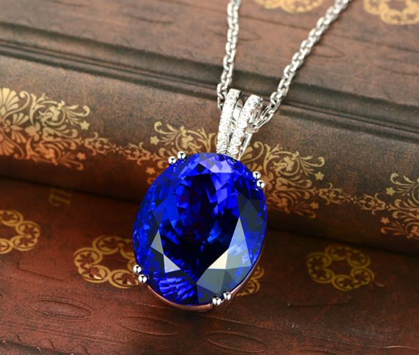 43.59ct Natural Blue Tanzanite in 18K Gold Pendant