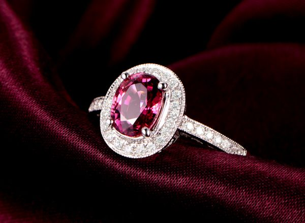 1.32ct Natural Red Tourmaline in 18K Gold Ring