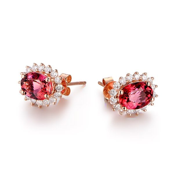2.78ct Natural Pink Tourmaline in 18K Gold Earring