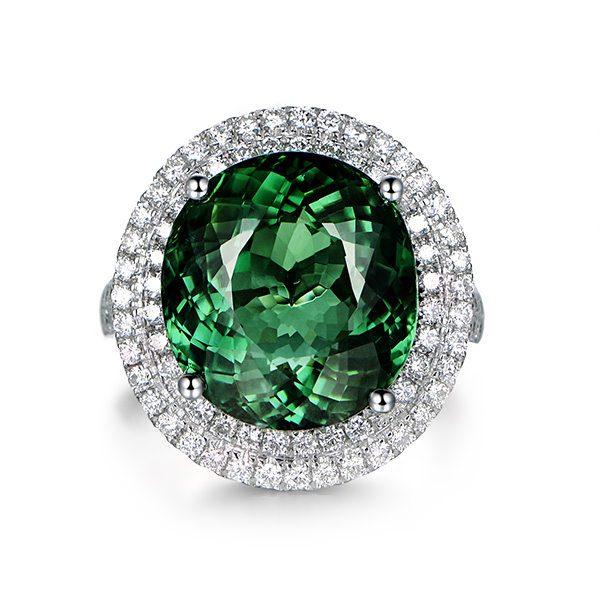 9.55ct Natural Green Tourmaline in 18K Gold Ring