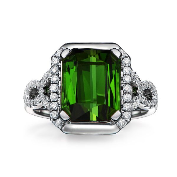 5.17ct Natural Green Tourmaline in 18K Gold Ring
