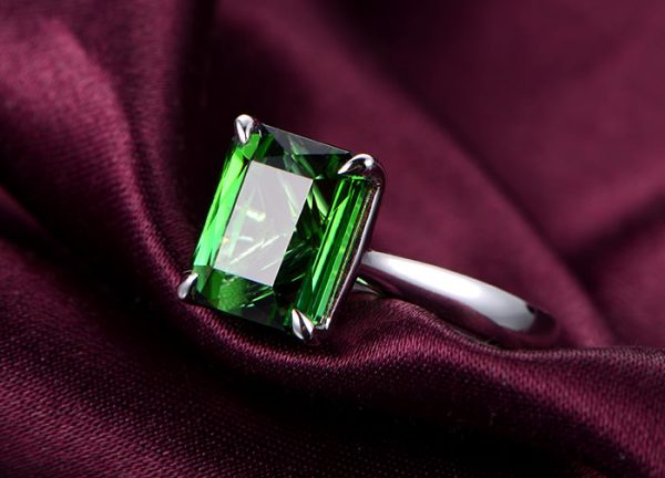 4.52ct Natural Green Tourmaline in 18K Gold Ring