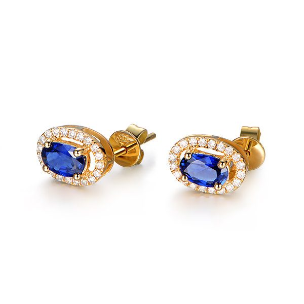 1.38ct Natural Blue Sapphire in 18K Gold Earring
