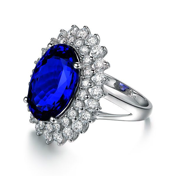 8.95ct Natural Blue Tanzanite in 18K Gold Ring