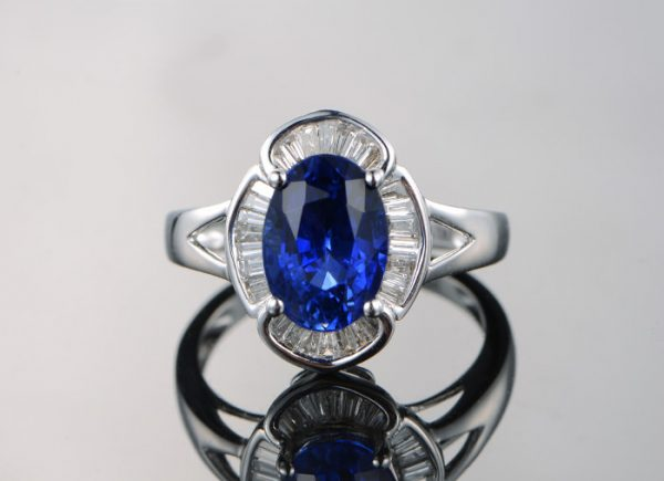 2.35ct Natural Blue Sapphire in 18K Gold Ring