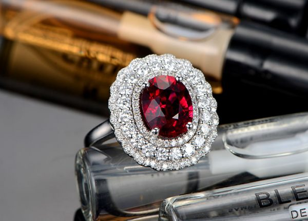 2.88ct Natural Red Tourmaline in 18K Gold Ring
