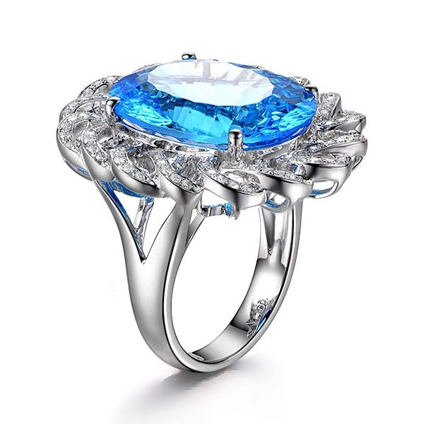 11.5ct Natural Blue Topaz in 18K Gold Ring