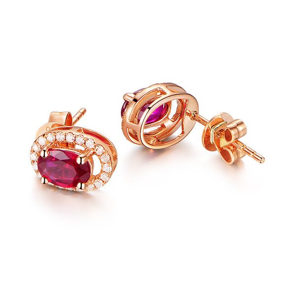 1.22ct Natural Red Ruby in 18K Gold Earring