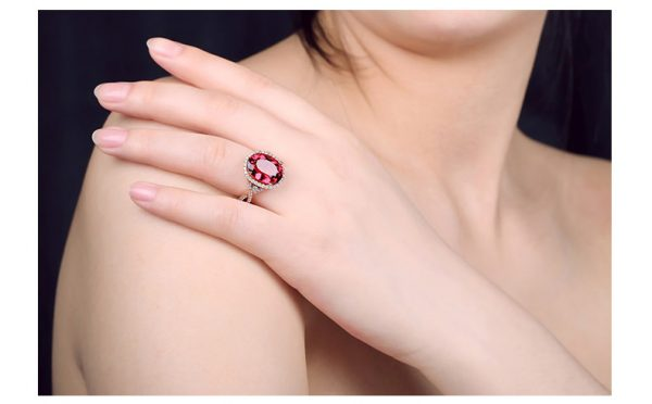8.28ct Natural Red Tourmaline in 18K Gold Ring