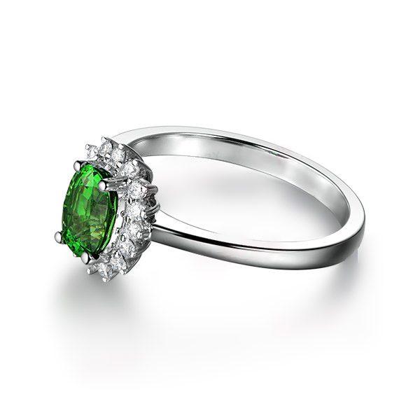 1.08ct Natural Green Tsavorite in 18K Gold Ring