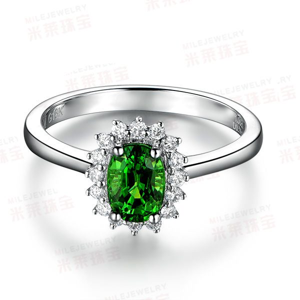 1.08ct Natural Green Tsavorite in 18K Gold Ring
