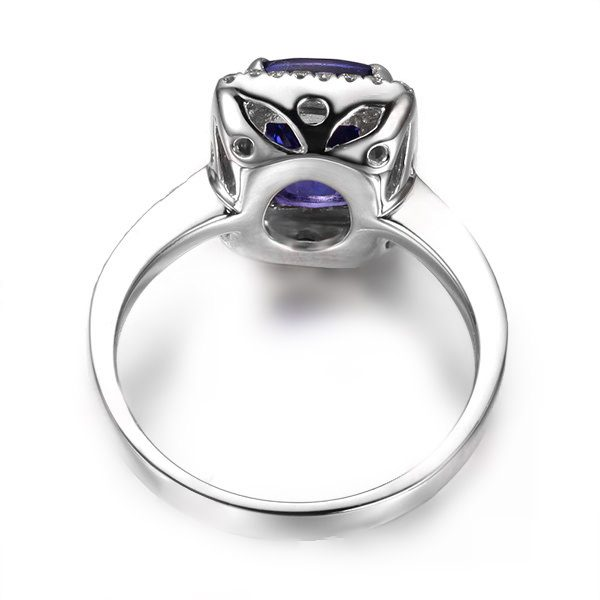 2.85ct Natural Blue Tanzanite in 18K Gold Ring