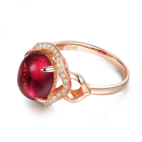 4.13ct Natural Red Tourmaline in 18K Gold Ring