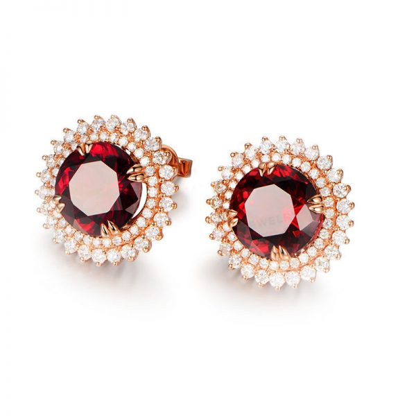 10ct Natural Red Tourmaline in 18K Gold Earring