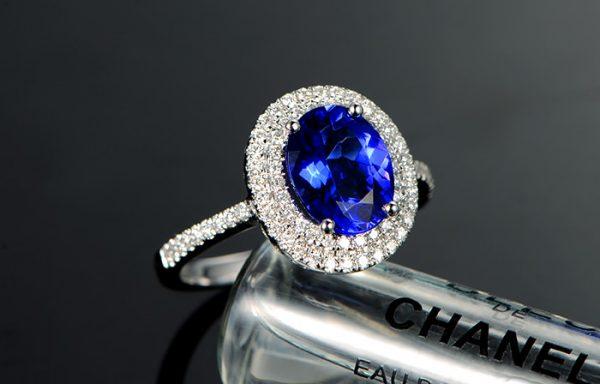 2.33ct Natural Blue Tanzanite in 18K Gold Ring