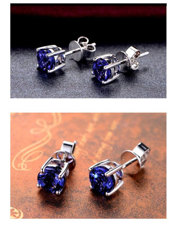 2.12ct Natural Blue Tanzanite in 18K Gold Earring