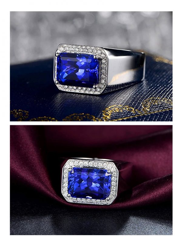 8.31ct Natural Blue Tanzanite in 18K Gold Ring