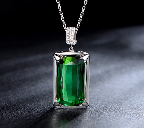 22.85ct Natural Green Tourmaline in 18K Gold Pendant