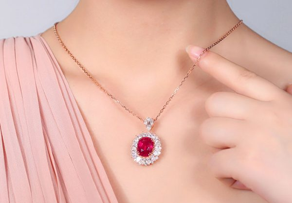 10.12ct Natural Red Tourmaline in 18K Gold Pendant