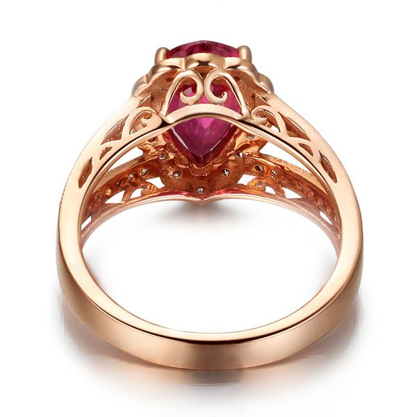 1.84ct Natural Red Tourmaline in 18K Gold Ring