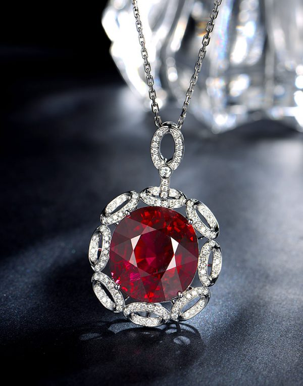 15.35ct Natural Red Tourmaline in 18K Gold Pendant