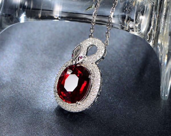 11.2ct Natural Red Tourmaline in 18K Gold Pendant