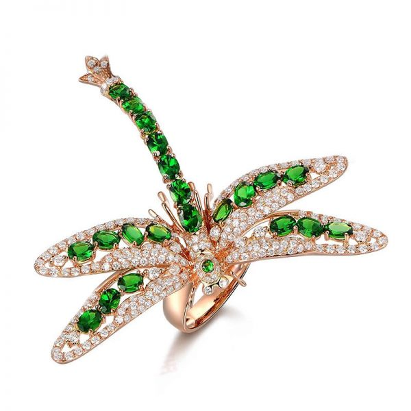 4.55ct Natural Green Tsavorite in 18K Gold Ring