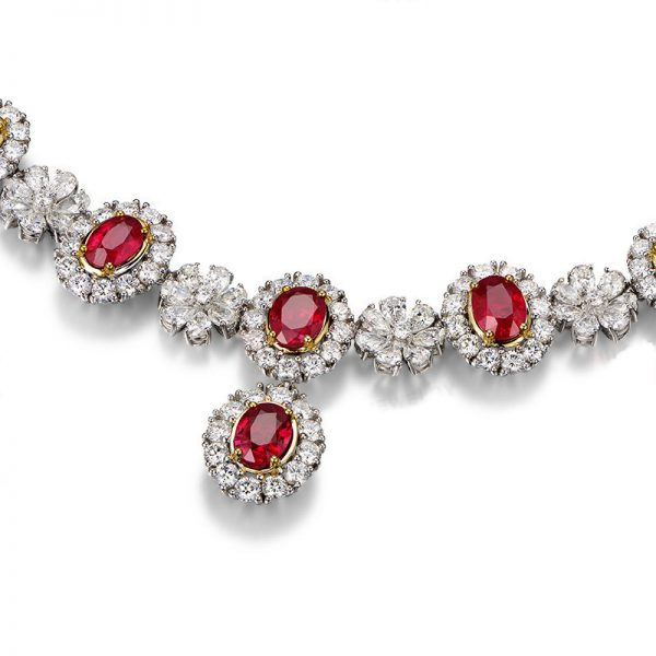 11.66ct Natural Red Ruby in 18K Gold Necklace