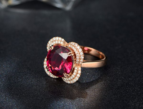5.65ct Natural Red Tourmaline in 18K Gold Ring