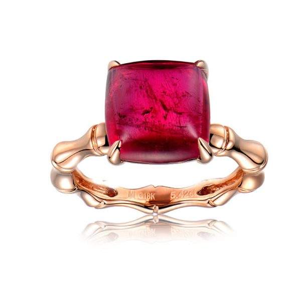 5.42ct Natural Red Tourmaline in 18K Gold Ring