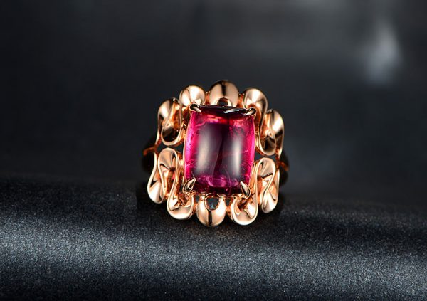 6.18ct Natural Red Tourmaline in 18K Gold Ring