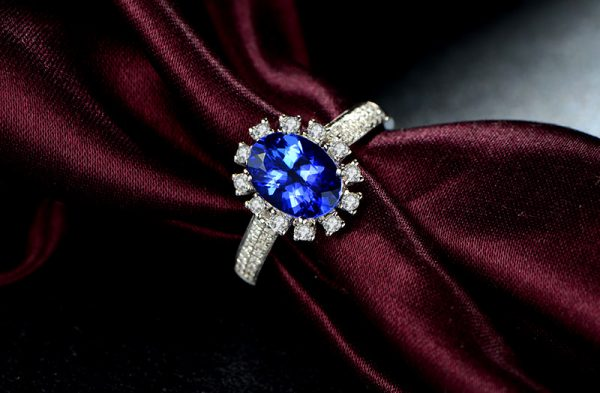 1.9ct Natural Blue Tanzanite in 18K Gold Ring