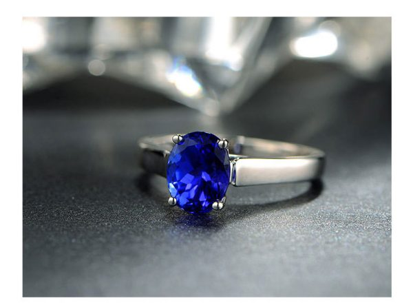 1.37ct Natural Blue Tanzanite in 18K Gold Ring