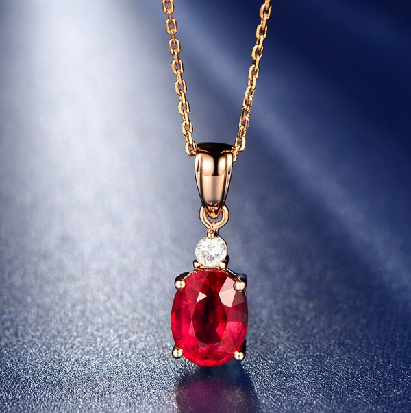 1.51ct Natural Red Tourmaline in 18K Gold Pendant