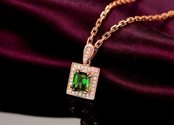 1.15ct Natural Green Tourmaline in 18K Gold Pendant