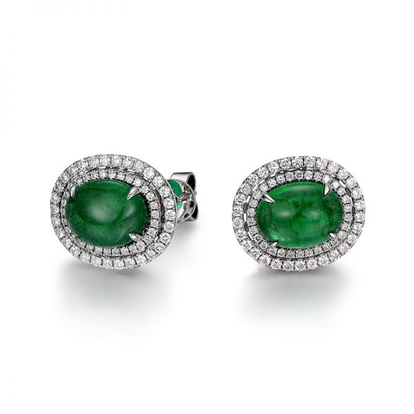 4.64ct Natural Green Emerald in 18K Gold Earring