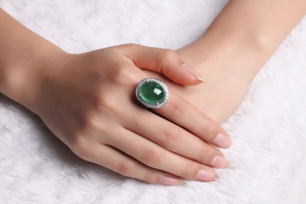 18.69ct Natural Green Emerald in 18K Gold Ring