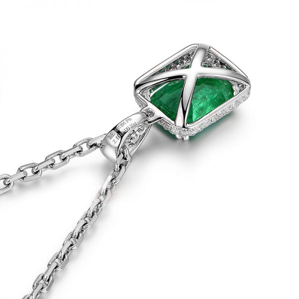 2.11ct Natural Green Emerald in 18K Gold Pendant