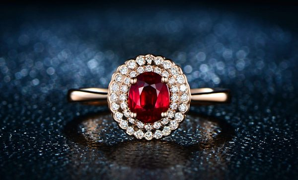 0.92ct Natural Red Ruby in 18K Gold Ring