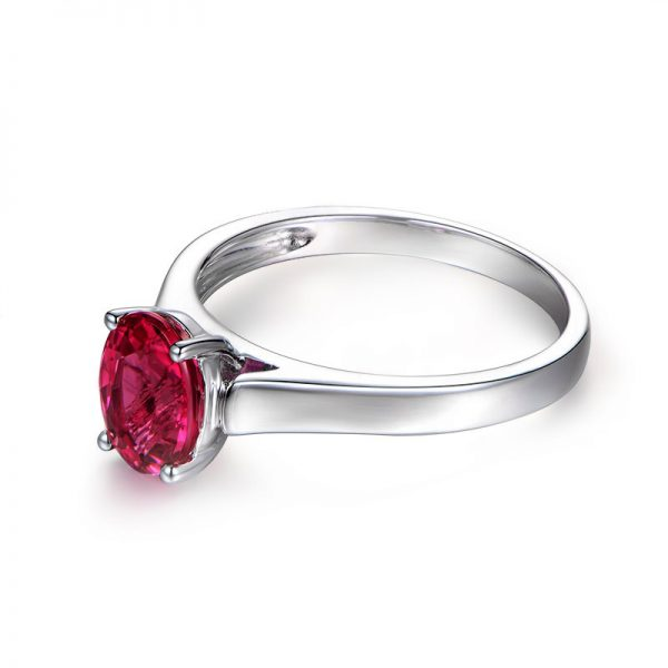 1.37ct Natural Red Tourmaline in 18K Gold Ring